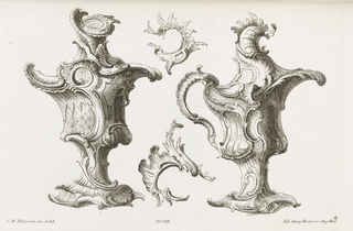Two designs epitomizing the fantastical asymmetric rococo spirit, possibly to be produced in gold or silver. At left, a vase-like form decorated with shell motifs, acanthus leaves and c- and s-scrolls. At right, an ewer form decorated with shell, leave and c- and s-scrolls. Two auricular fragments are placed between the two objects.