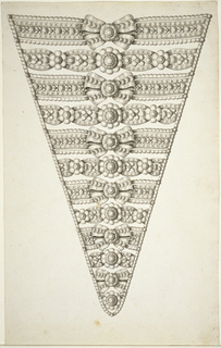 Design for stomacher in diamonds and pearls with alternating rows of blossoms and bows in the center.