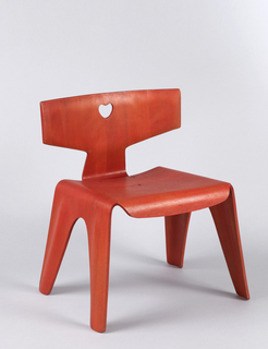 Molded, laminated wood form of T-shaped back, square seat, the sides bending to form  four flat legs; front of seat bent down to form short apron; back with small heart-shaped cut-out in center, attached to seat with three metal fasteners.  Red-stained finish.
