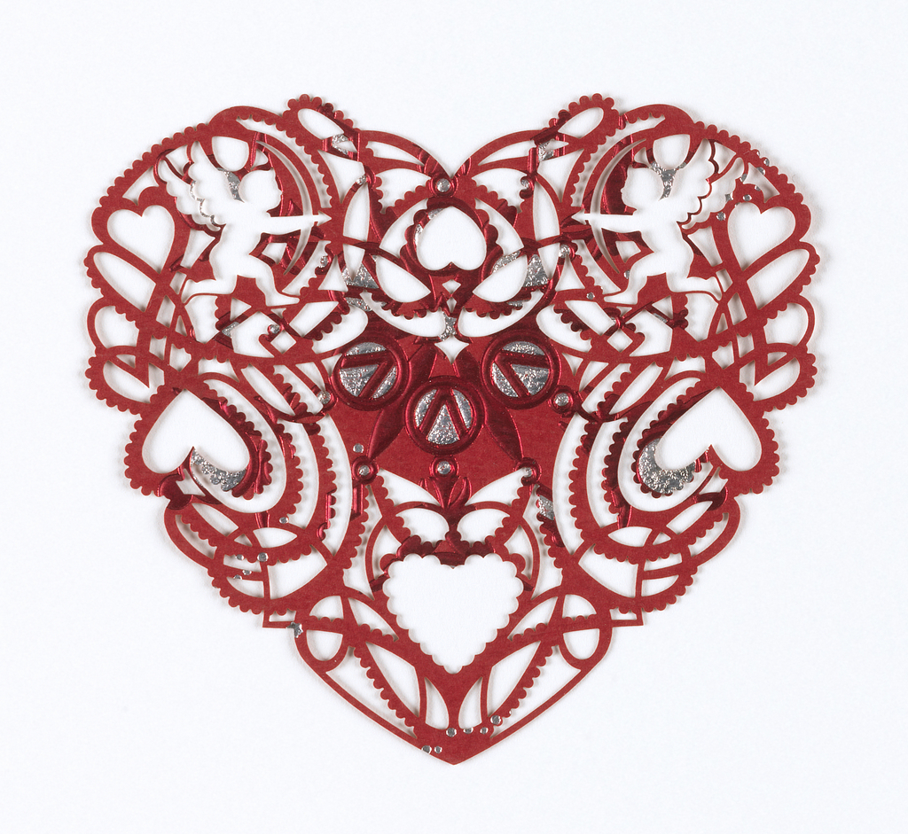 Heart-shaped lasercut Valentine's day card