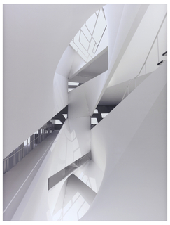 The print depicts the light well at the building's inner core. The main features of the light well are the skylight (upper center), the ramp (lower left), and the staircase (upper right), all shown at exaggerated angles.  The two circulation paths are surrounded by a cacophony of intersecting curvilinear and flat wall surfaces.  The natural light enters the space through the skylight and the windows of the building's back wall creating rich, pronounced/accentuated lighting effects, such as the shadows cast by the frame of the skylight (lower center).  The print is monochromatic in various beige and cream tones.