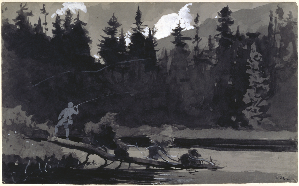 Horizontal view of a fisherman standing on a fallen tree trunk and casting his rod into a river or lake in the foreground, a dense forest of fir trees fills the middleground at the far side of the water's bank, and a view of white clouds and distant mountains fills the background.