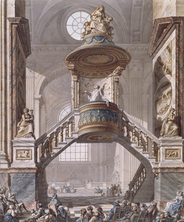 A marble pulpit dramatically suspended between two flights of stairs, designed by de Waily, forms a bridge-like structure across the nave of the Church of Saint Sulpice.  A priest, with upraised arms, preaches to the congregation seated in the foreground.  A sculpture of Charity adorns the top of the pulpit.  A sculpture of Faith (holding a chalice) adorns the left landing; the pedestal shows a bas-relief of the symbol of St. Luke (ox). On the right landing, a sculpture of Hope (holding an anchor) rests on a pedestal decorated with a bas relief of St. Mark's symbol (the lion).