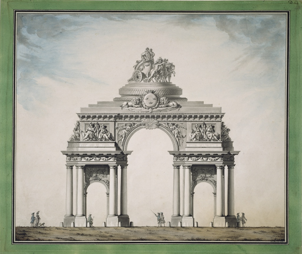 Drawing, Triumphal Arch with the Royal Swedish Coat of Arms