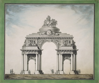 The triumphal arch, depicted at center, in mid-distance, consists of a higher central and two lower lateral archways.  Above the central arch is a chariot with two allegorical figures of women. On the ground, seven small-scale figures of men and a woman (and even one accompanying dog) promenade below the arch, pointing or looking at it.