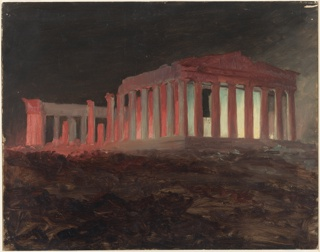 The Parthenon viewed at night from the south is lit aritificially from within the structure by fireworks.