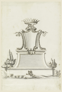 Shield with a crown above, upon a base; stones and trees.