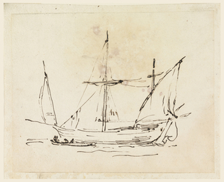 In front of sailing vessel is a rowing barge with four figures.