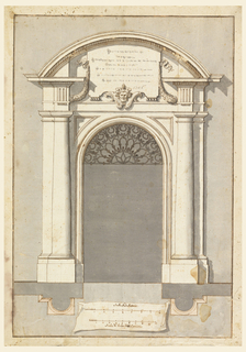 "Pilasters flank open door. In lunette, a tablet. Arch contains lunette of organic pattern. Scales: ""Scala Modalatoria/ Scala di Palmi dieci Romani."""