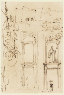 "Two sketches of a door with a niche in the upper floor. The latter is framed in rectangle and has a shell above. One sketch gives the measurements for the door, the other shows the statue of a bishop with a host on the side and a man with a wooden leg wearing a big hat standing on the street. Above, two slight sketches of people standing. Written beside in script: ""Lavoro""; ""Squario eti""; and ""Finezza dell' Amio""."