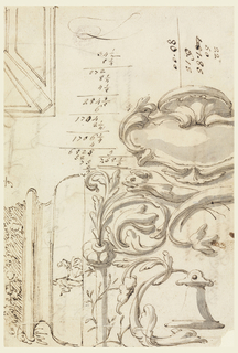 """Top left: ceiling decoration with panels and bands. Bottom right: panel decoration with grotesque motifs and escutcheon on top; beneath it are dolphins with crossing tails; a bell hands from the tail of another dolphin farther below. Lower left: a vase in the shape of a column base, filled; a standing man and a kneeling woman are shown in the bottom molding; some accounting figures. On verso: fragment of a written tablet pertinent to a chemical system beginning with """"Ogio dolce semplice,"""" ending with """"Saponi animali come la Bile / Gelatina animale."""""""