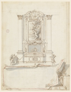 Centrally placed elevation of altar showing painting of a penitent saint in the wilderness. Above in a circular frame the heads of two cherubs. Altarpiece flanked by Corinthian topped pilasters.  Group of three figures at left of altar, one of which holds a lance. At right, one figure carries candlesticks. Below elevation, a sheet of paper containing a plan view, is drawn in trompe-l'oeil and edged with red. Edges appear rolled and an elaborate frame is shown at right, behind the sheet.