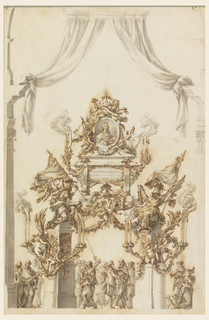 Two winged genii, symbolizing death, sit on pilasters supporting a sarcophagus to Carl Emanuel III. Pedestals on either side support two candle brackets with burning candles and two putti. Above, a broken pediment supports a putto sitting at left and holding a medallion of the King. Two additional putti support the crown. All is adorned with festoons and swags. Below are groups of men, of whom one is extinguishing a candle and another is walking with new lights. At right, two women appear, one running and the other accompanied by a dog.