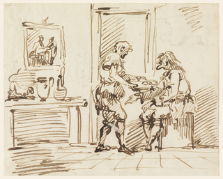"Inside of a room; near the door sits an old man, to whom another offers a plate of food. At left, a picture hangs on the wall above what is a chimney piece or a table. Upon it is a dog and two pitchers. On verso: a part of a plan and written vertically, in ink: ""sempre p..mi"" and ""Ancona"" four times, and ""Roma"" twice."