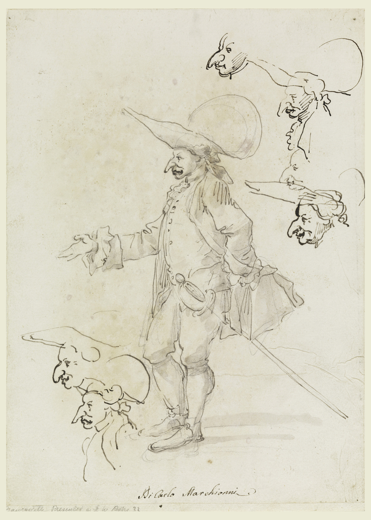 A man, standing, with a large nose, hat and sword; six other sketches with heads as caricatures.