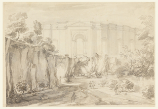 Rocky landscape in front of building. Elevation of a one-story circular building decorated with pilasters, windows, and a central doorway which contains a fountain with two sphinxes. On lower level below fountain, a grotto with a standing female deity. Throughout the foreground, groups of men conversing. Cliff at left and center; building is in center of drawing behind cliff. Trees at right. Graphite borderline.