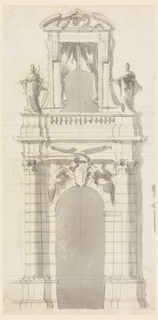 Below is the gate with escutcheon with a crown between two sitting women above the arch. The shafts of the pillars, the attached columns and the arch are in rustic work. In the frieze of the escutcheon is a festoon; above the entablature is a balustrade between two pedestals with statues bordering a small balcony in front of a door in the second floor.