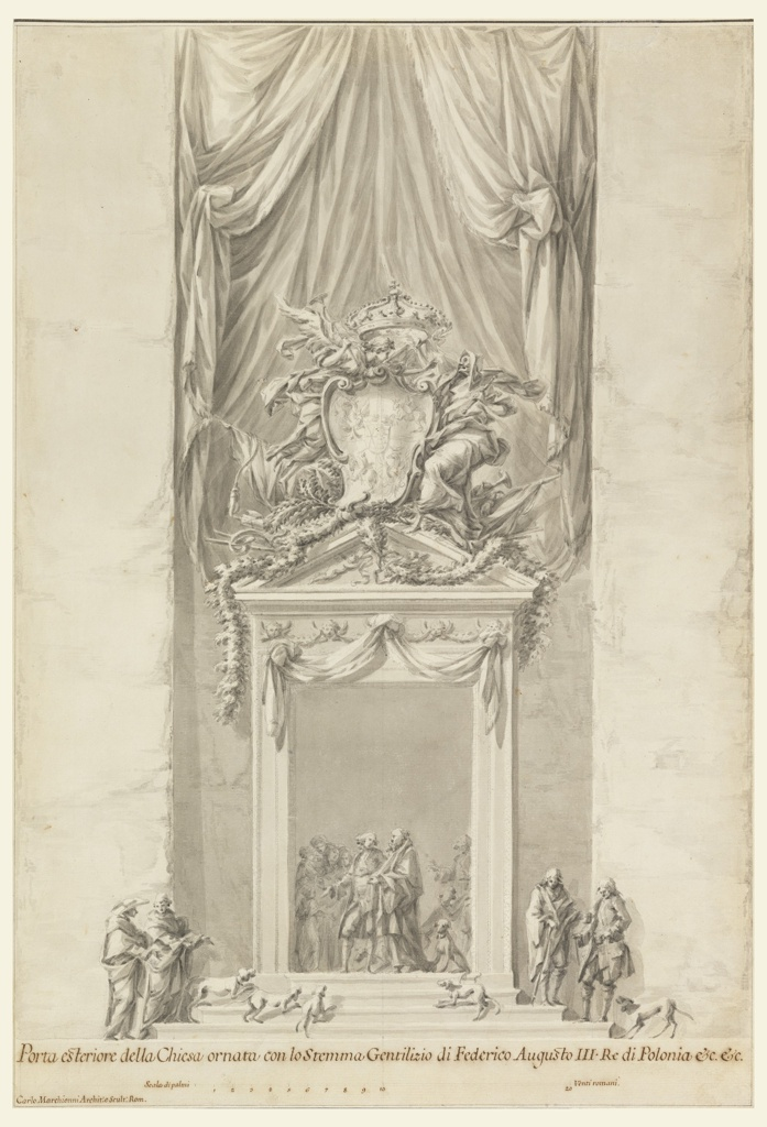 Drawing, Doorway of San Salvatore in Lauro with Decoration for the Funeral of King Frederick August III of Poland,  Rome, Italy