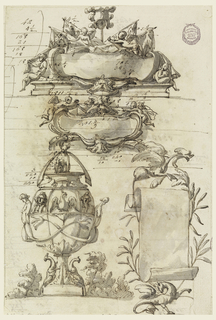 The upper escutcheon is in front of a trophy of colors and a helmet and above an entablature; there are four putti. The lower escutcheon has a mask on top; is in front of a cloth supported by two flying putti. At lower left is the vase; beside its foot are two kangaroos; the handles are formed by mermaids with tails entwined. The body of the vase is subdivided in compartments; the upper ones contain busts and an eagle; on top of the cover sits a bear below a scroll; bushes beside the foot. Lower right: a paper scroll between branches; with fantastical animals above and below. Accounting figures on verso.