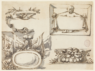 Left row: escutcheon, with a ribbon and two crossed branches on top. Below: a trophy of weapons with cannons and a great oval shield in the center below. Right row: a child kneeling in a box frame supports a cloth which hangs on a rope around his neck. Below: a fantastic mask with branches beside it.