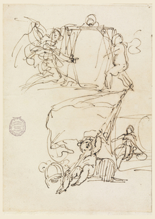 Above escutcheon supported at left by a kneeling large angel, at right by a standing smaller one. Below: left, putto sitting between trophy, holding big banner; right female figure sitting beside escutcheon, a cresting.