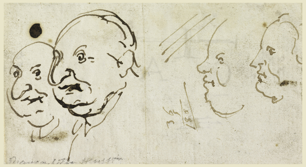 At left are two clerics in three-quarter profile; at right, two profiles, in caricature.