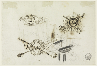 """Hoirzontal rectangle. Masts shown at one side, ornaments at the other. A calyx as a central motif between branch scrolls. In opposite directions, two crossed shepherds' staffs with a wreath. """"a"""" is written above and there are two crossed branches with a stick with a lion mask. Leaves and part of a window frame are sketched in graphite."""