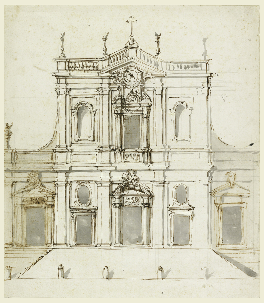 Vertical rectangle. Building with two stories, the lower with five divisions and the upper with three. Stairs lead to the lateral left door and parallel to the façade to a ramp in front of the central part. At right, oblique stairs lead simultaneously to the lateral door and the ramp. The three doorcases are topped by a coat of arms, at left and in the center identified as that of the Albani. Tablets are above the door frames at left and in the center, respectively, with the inscriptions: ALEXANDER ALBANVS; ANNIBAL ALBANVS; posts are at the foot of the ramp.