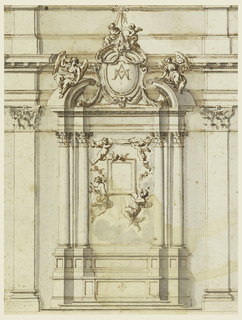 Two angels support a frame of an image, with two cherubim on top. Two others support a label above. Upon the cornices of a broken pediment sit angels. In the center an escutcheon with a monogram; on its top a cross with two angels beside its base.