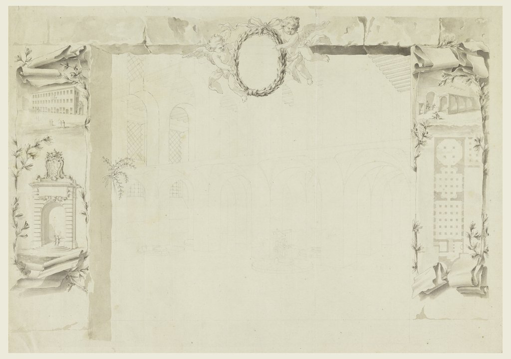 """In the center is sketched an obliquely shown section of two halls in two stories. Contemplation with a wheel is shown in the bottom center. Two putti hold a laurel medallion in the top center. The framing suggests an opening in a wall. Laterally, are paper scrolls, showing at left: a house beside agateway, which is shown underneath in detail. It is topped by the coat of arms of Pope Clement XII; at right: a gateway flanked by an outhouse and a loggia, a plan. On verso: bird's eye view of a bridge over the Savio in Cesena. Top is the scale: """"Scala di Canne venti di Cesena."""" On a paper scroll and partially covered by laurel garlands: """"Ind(i)ce del presente diseg(no)."""" this explanation, which is turned at right, refers to a lost part of the design. The garlands form a wreath in which is written: """"Dimotrazione / della painta el alzato del ponte / da erigersi sul. Fiume savior suoea gia / destinata paltea coll' aggiu'a dell' / ale offine di far o corer I'acgua / ad angolo retto."""" Underneath: """"Corso d(e) l fiume."""""""