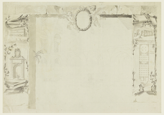 "In the center is sketched an obliquely shown section of two halls in two stories. Contemplation with a wheel is shown in the bottom center. Two putti hold a laurel medallion in the top center. The framing suggests an opening in a wall. Laterally, are paper scrolls, showing at left: a house beside agateway, which is shown underneath in detail. It is topped by the coat of arms of Pope Clement XII; at right: a gateway flanked by an outhouse and a loggia, a plan. On verso: bird's eye view of a bridge over the Savio in Cesena. Top is the scale: ""Scala di Canne venti di Cesena."" On a paper scroll and partially covered by laurel garlands: ""Ind(i)ce del presente diseg(no)."" this explanation, which is turned at right, refers to a lost part of the design. The garlands form a wreath in which is written: ""Dimotrazione / della painta el alzato del ponte / da erigersi sul. Fiume savior suoea gia / destinata paltea coll' aggiu'a dell' / ale offine di far o corer I'acgua / ad angolo retto."" Underneath: ""Corso d(e) l fiume."""