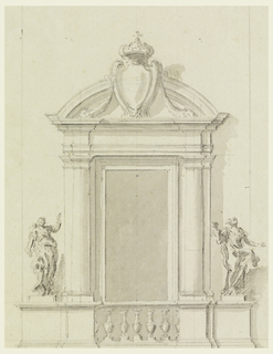 "The door frame is shaped like an aedicule, with a circular pediment. The pedestals of the embedded columns are connected by a balustrade. They are flanked by the pedestals of pilaster strips and of statues. ""Prudence"" is shown at left, another allegorical figure of a woman at right. A royal escutcheon stands in front of the pediment with garlands hanging from it."