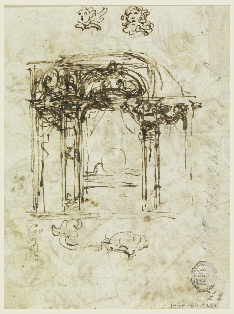 The caricatures refer mostly to an old man wearing a wig; some show the bust. The other – non caricature – heads are shown looking downwards or upwards. One is a cherub; some accounting is written in intervals and over sketches. On verso: elevation of a bed alcove with alternative suggestions. The bed is sketched. Above a cherub and the head of a bearded man. Below is the left part of a roughly sketched ornament.