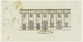 The structure has three stories and a balustrade above the entablature to hide the roof. It stands in front of another building, the upper side of which is visible behind the balustrade. At left is the section, contiguous to the façade showing alternative suggestions. Four pairs of pilasters flank three open archways, each having in the interval a door or a window, respectively. In front of the façade a fountain.