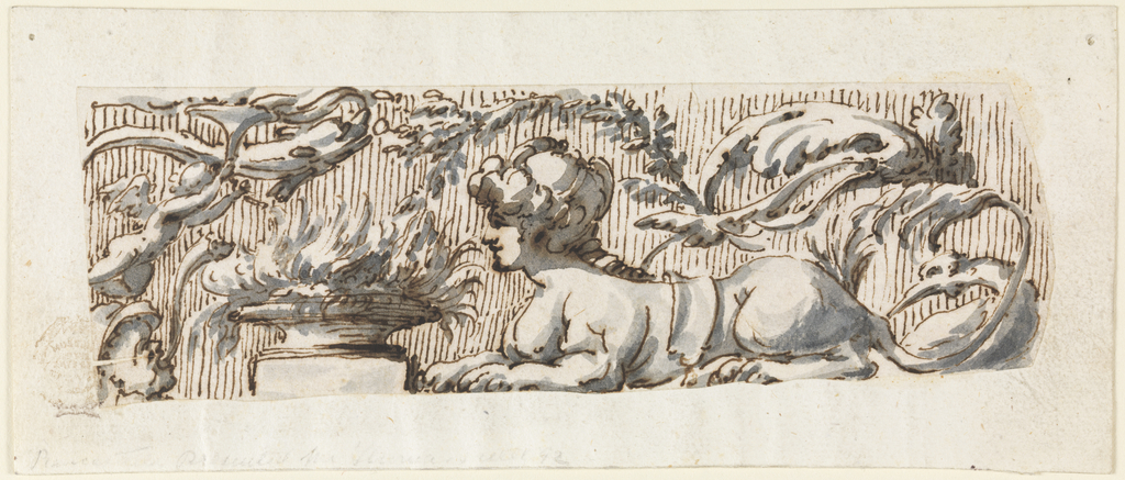 Horizontal frieze with a sphinx , putti and flaming censer.