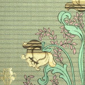 Contains a grouping of three stylized tulip flowers, with hanging pink foliage. Printed in tan, brown, and metallic green on striped green background. Same floral motif as 1979-91-849.