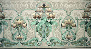 Art Nouveau style. Bouquets of three flowers, alternating between large and small bouquets, with stylized acanthus leafs, which intertwine at the bottom to create an undulating line. The background contains a series of floral silhouttes, which play with positive and negative space. Printed in shades of green, beige, and brown.