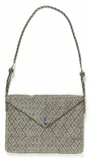 Rectangular purse with triangular flap, made of silvery beads woven in a diamond lattice design.