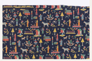 Silk crepe printed with a small-scale polychrome design of toys, animals, trees and lions on dark blue ground.