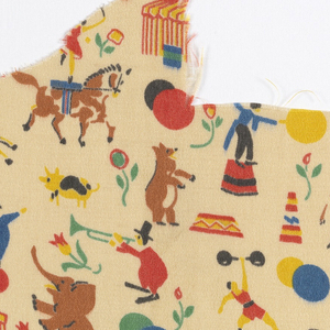 Silk crepe printed with polychrome design of circus tent, animals, clowns and ballons on light tan ground.