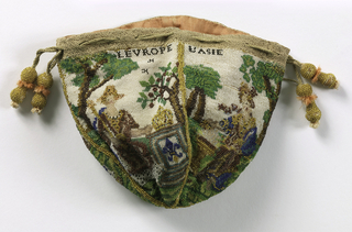 "Small bag of very fine beadwork illustrating the four continents:  ""LEUROPE"", ""L'ASIE"", ""L'AFRIQUE"" and LAMERIQUE"". Panels worked separately then joined."