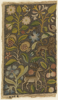 Fragment of an embroidered picture. Linen solidly worked with polychrome silk and gold thread with floral motifs, stag and a lion.