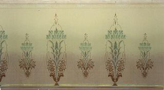 On gradient ground of tan and green alternating small and large abstract shapes that look like hanging chandeliers and vases with bouquets of brown flowers and green vines.
