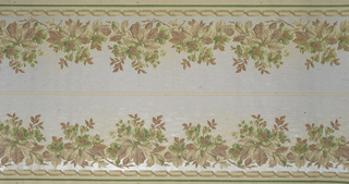 On light gray-white ground, bushels of wild flowers in red-brown, yellow and green above and below. Borders printed two across the width.