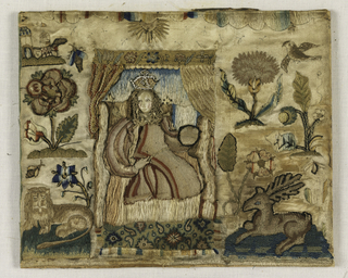 Front panel for box showing a man and woman having a picnic surrounded by birds, animals, insects and flowers. Decorated with pieces of lace and pearls.