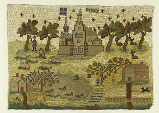 "Rural landscape with flock of sheep and shepherds, cottage with duck pond, house with figures under a tree, dominated by a large building labeled A Priory. At the bottom, a gravestone-like shape contains ""Sarah Ann Wimpory, 9 years"""