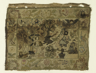 Two inch border containing floral and animal motifs (birds, rose, thistle, honeysuckle, heart's-ease, carnation, grapes) with a rockery at each corner with lions, deer, and dragons.  In the center is a deer at the foot of a pear tree; the scene at the left shows Adam and Eve in the act of eating the apple; the one at the right has the angel saving Abraham from slaying Isaac.