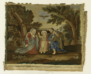 The Holy Family (Mary, Jesus and Joseph) in a landscape with the Holy Spirit, personified as a dove, in the sky.  The silk fabric was placed on a plain weave linen fabric and the embroidery was done through both layers.