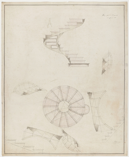 Plan and elevation of spiral staircases. Details on lower portion of the design.