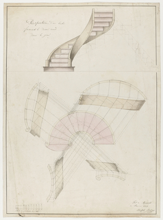 Plan and elevation of spiral staircases; with details.